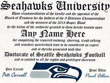 SEATTLE SEAHAWKS  FAN ~ CERTIFICATE ~   GIFT ~ MAN CAVE ~ OFFICE ~ FAN