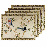 Set Of 4 Country Birds Floral Tapestry Deco Tableware Table Linen Mats Placemats