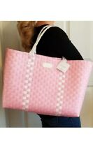 Kate Spade New York Pink & White Crosshatched Coated Canvas Large Tote Bag