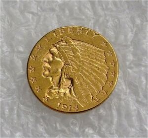 1914-D USA $2 1.2 DOLLARS GOLD COIN, 1/4 EAGLE, INDIAN  XF++