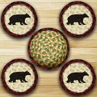 CABIN BLACK BEAR 100% Natural Braided Jute Coaster Set of 4 with Jute Basket