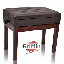 Brown Leather Piano Bench - Griffin Storage Adjustable Artist Wood Keyboard Seat