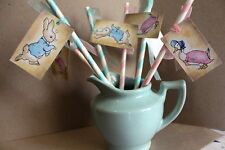 Peter Rabbit Childrens Party/Baby Shower Baby Pink & Blue Paper Straws with tags