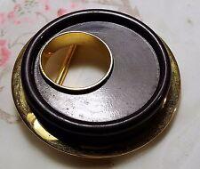 ANCIENNE BOUCLE DE CEINTURE GALALITHE violet foncé METAL DORE  61 mm Buckle C2