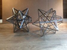 2 Moravian Star Pendant Lampshades Silver Metal And Glass
