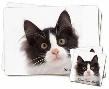 Black White Cat 'Love You Mum' Twin 2x Placemats+2x Coasters Set in, AC-200lymPC