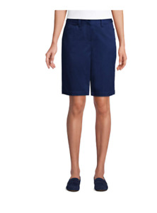 """NWT Women's Mid Rise 10"""" Chino Bermuda Shorts Size 8 In Deep Sea Blue Color"""