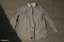TBE CHEMISE MARQUE GAP 14 ANS MANCHES LONGUES RAYE GRIS BLANC
