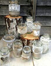 10 Rustic Vintage Wedding Lights Handmade Glass Linen Lace Jars Candle Holders