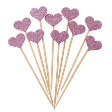 10X Birthday Cupcake Toppers Love Heart Party Decor Baby Shower Wedding Cake Dec