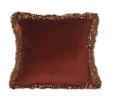 orange rust velvet decorative throw pillow with long ribbon fringe for sofa