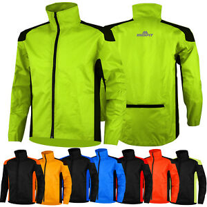 Mens Cycling Rain Jacket Waterproof Hi Visibility Cycle Jacket Rain Coat Hi Viz
