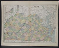 Antique Color map of Virginia and West Virginia Circa 1895. Nice detail