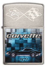 Zippo Chevrolet Corvette 1970 Stingray brushed Chrome Custom Lighter Rare NEW