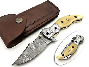 SMITH KRAFT CUSTOM HANDMADE DAMACUS SHARP EDGE LINEAR LOCK FOLDING KNIFE CAMEL B
