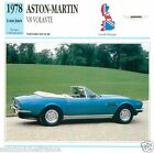 ASTON-MARTIN V8 VOLANTE 1978 à nos jours CAR GREAT BRITAIN CARTE CARD FICHE