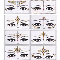 Gold Face Temporary Face Tattoo Jewels Glitter Cheek Makeup Festival Stickers UK