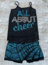 All About Cheer Tank & Bike Shorts Turquoise Blue SilverSequin Bling Youth S