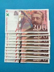 10 billets de 200 Francs EIFFEL FRANCE 1996 97 TTB