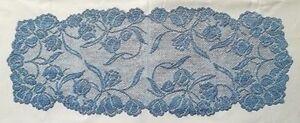 "Blue 15"" x 36"" Lace Table Runner Tulips Livingroom Bedroom Diningroom Sun Room"