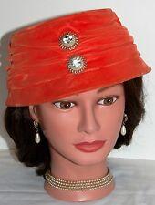Vtg Marie Buffeh Orange Velvet Cloche Bucket Tilt Dress Hat Rhinestones 40s 50s