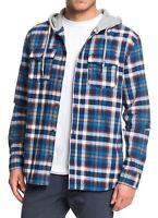 Quiksilver Mens Shirt Blue Size Large L Button Down Plaid Hoodie $70 #052
