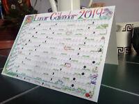 2019 Desk Calendar Lunar moon Greetings Card Pagan Wicca chart planner year A5
