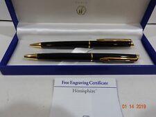 Waterman Hemisphere Black & Gold Ballpoint Pen & 0.5mm Pencil Set New In Box