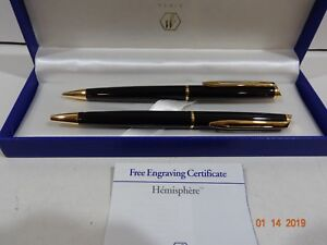 Waterman Hemisphere Black & Gold Ballpoint Pen & 0.5mm Pencil Set New In Box