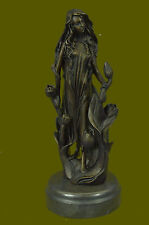 SIGNED ~Mavchi~bronze statue art nouveau deco flower girl Figure Decoration Sale