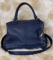 DIANE VON FURSTENBERG Pebbled Leather Drew East West Satchel Bag Blue Large EUC