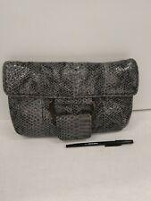 BCBG Eneration Grey Snakeskin Embossed Faux Leather Flap Clutch Wallet