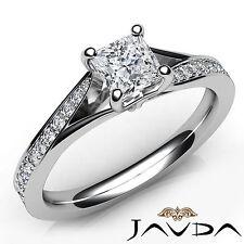 Sparkling Princess Diamond Pave Engagement Ring GIA D Color SI1 Platinum 0.85Ct