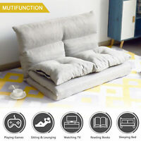 Double Chaise Lounge Sofa Chair Floor Couch Adjustable Gaming Sofa w/Two Pillows