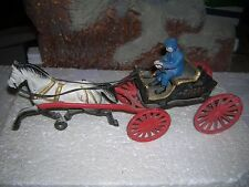 Vintage Cast Iron Horse Drawn Fire Department Chief Wagon Toy