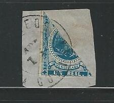 Venezuela: 1863; Scott 013 Federation Eagle in bisected fragment. VE1080