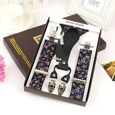 Men's Clip-On Floral Suspenders Y-Back Braces Adjustable Elastic Straps