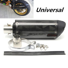 "Black CNC Aluminium 2"" Motorcycle Modified Exhaust Muffler Pipe Set Carbon Fiber"