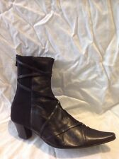 Kiss Cat Black Ankle Boots Size 3.5
