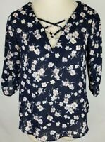 Sienna Sky Small Navy Blue Pink Floral 3/4 Sleeve Criss Cross V Neck Blouse Top