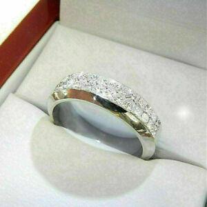 2Ct Princess Cut Diamond Eternity Men's Wedding Band Ring 14K White Gold Over