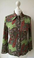 CC London Blouse UK10 EU38 US6 green spotty paisley ruched sequinned three...