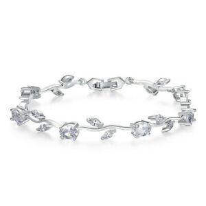 Fashion Woman Exquisite White Zircon Silver Branch Bracelet Jewelry Gift