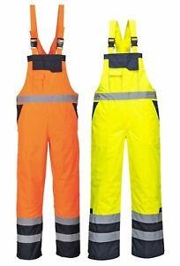 PORTWEST Hi Vis Contrast Bib & Brace Lined Waterproof Padded Safety S489