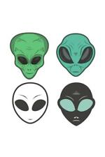 Alien face icon set, humanoid head, vector Poster 24x36 inch