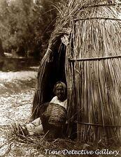 Pomo Indian Woman with Basket, California - Historic Photo Print