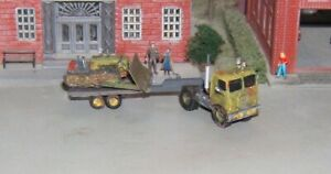 N scale Custom Built Tractor Trailer and Bulldozer