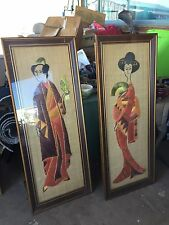 "PAIR 60's rice paper/wrapper art,Japanese man/woman/geisha,heavy,16.5"" by 41"""