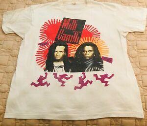 MILLI VANILLI 1991 Tour Concert tee VINTAGE - REPRINT White T Shirt S-5XL new