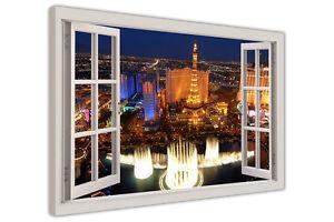 LAS VEGAS 3D WINDOW VIEW CANVAS PICTURES WALL ART PRINTS CITY POSTERS DECORATION